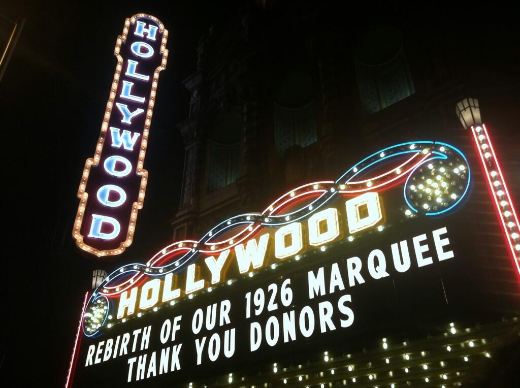The Hollywood Theatre has a new marquee! And Doris helped to make it happen.