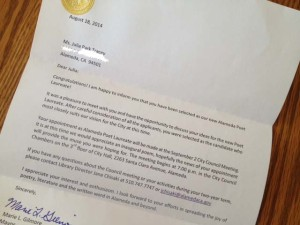 The letter I received naming me Alameda's Poet Laureate.